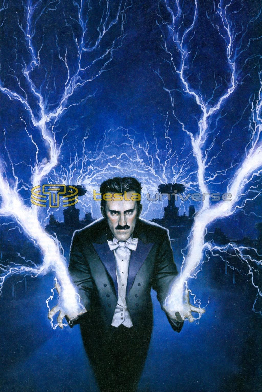 Ominous drawing of Nikola Tesla shooting lightning from his hands