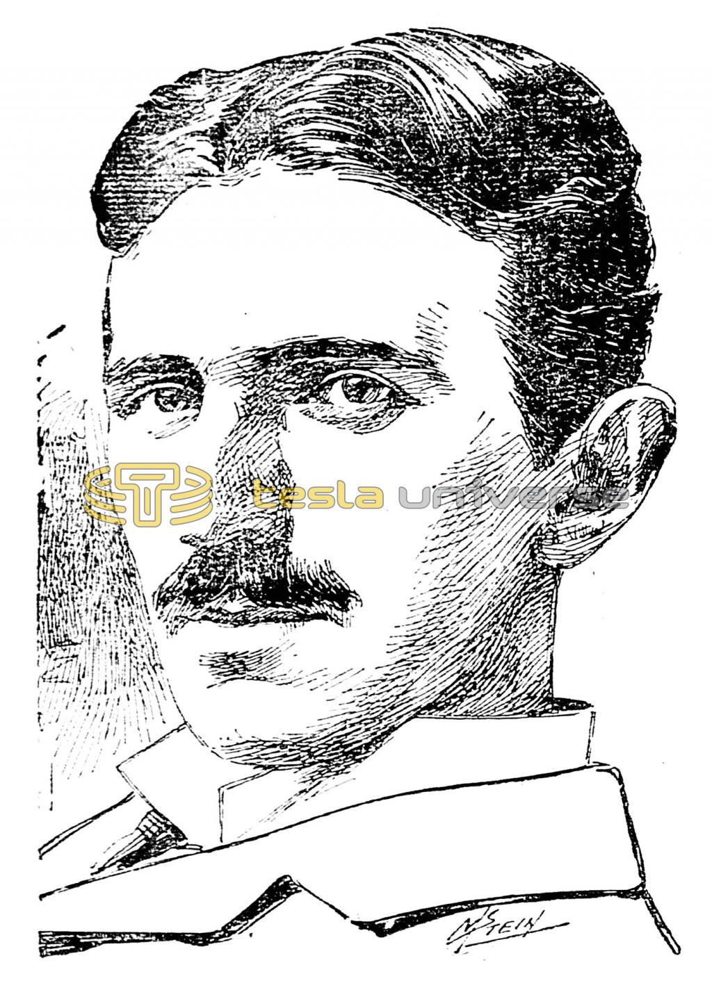 Sketch of the electrical genius, Nikola Tesla