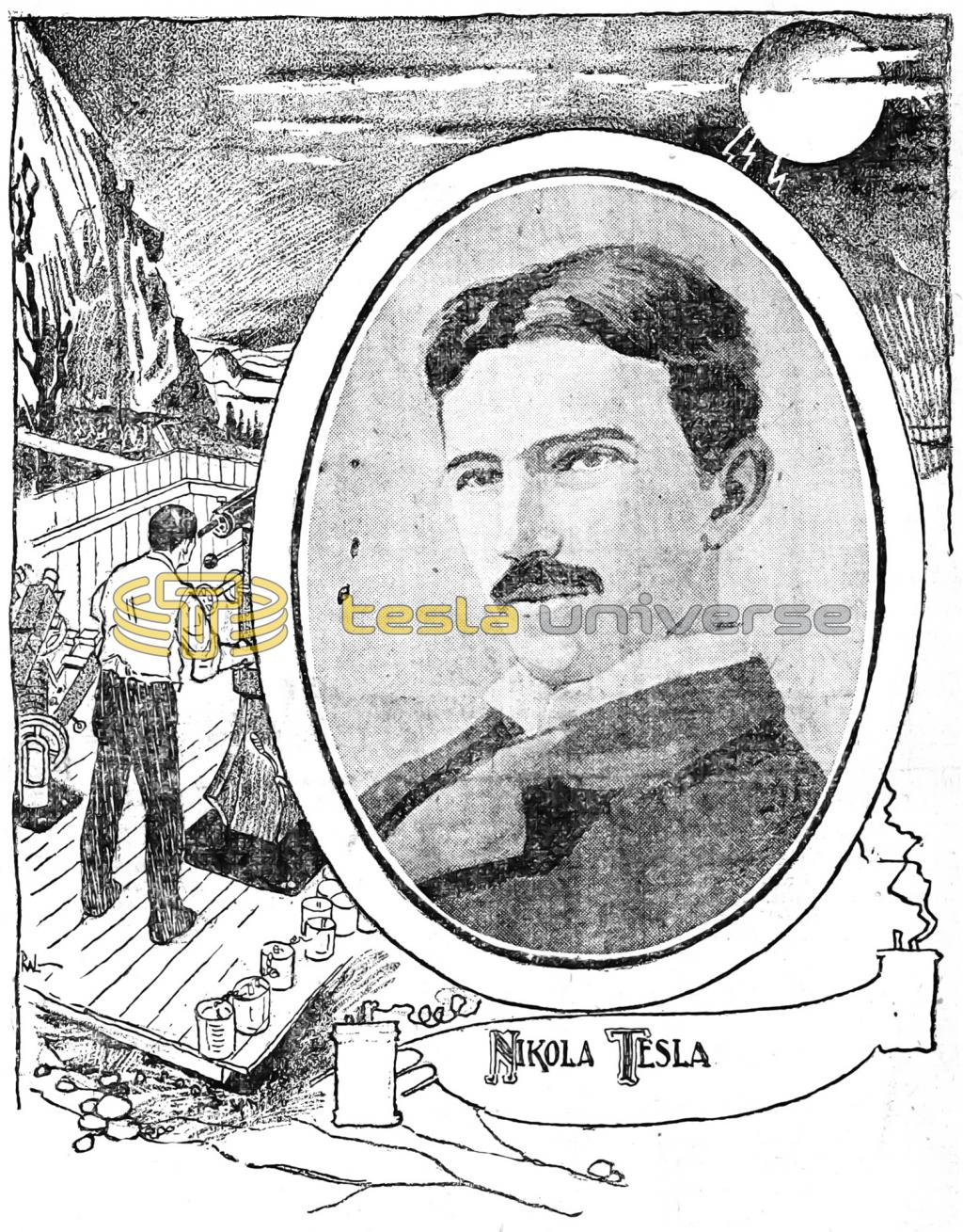 Illustration of Nikola Tesla from around the time of his Colorado Springs experiments