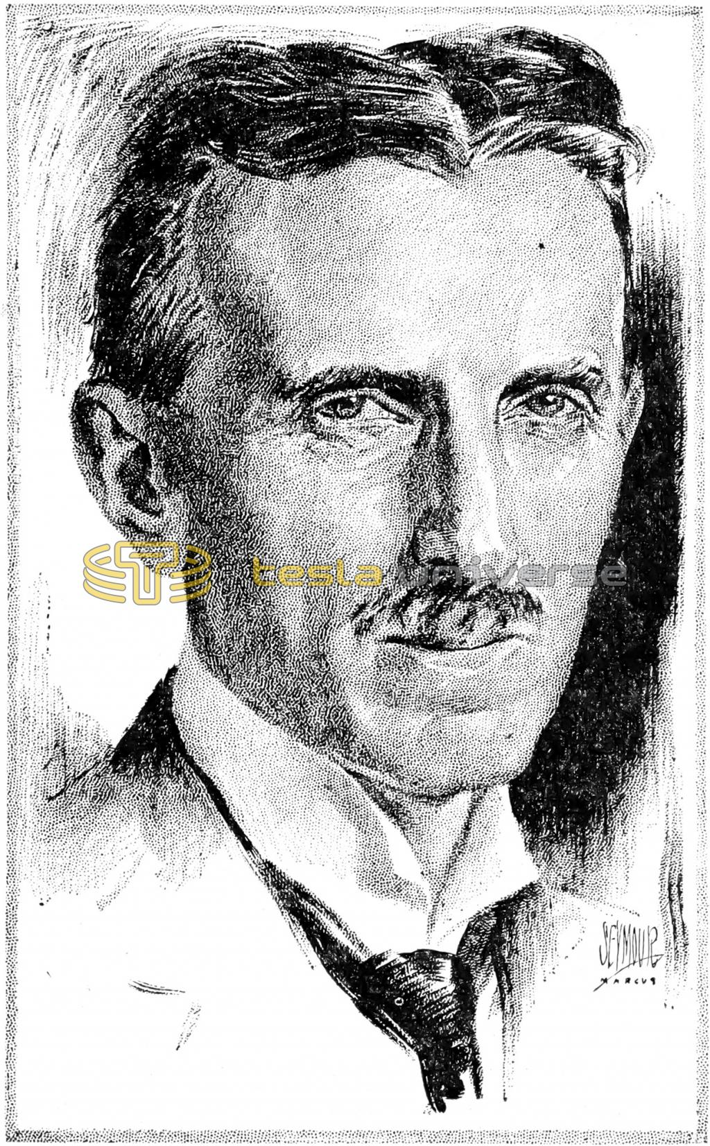 Sketch of Tesla at around 60 years of age