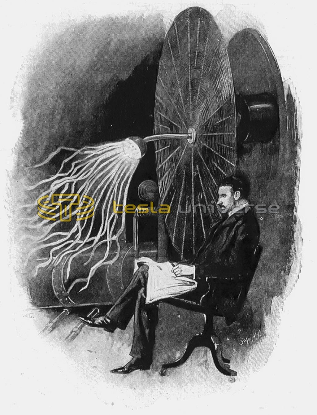 Nikola Tesla and his wireless telegraphy apparatus