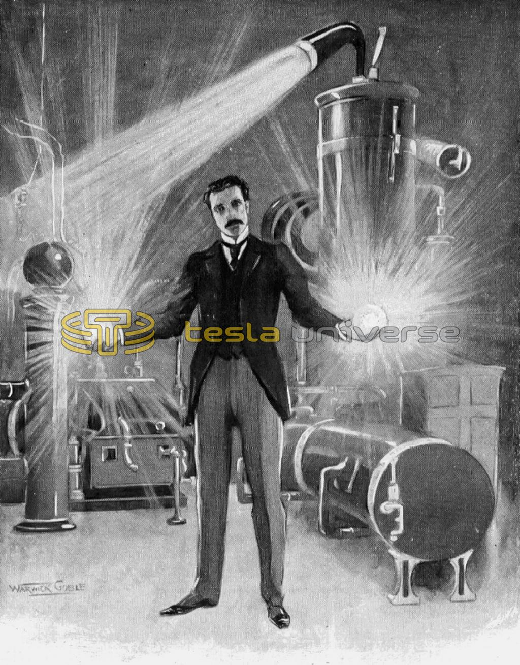 Electrical sorcerer, Nikola Tesla wilding balls of electric flames in his hands