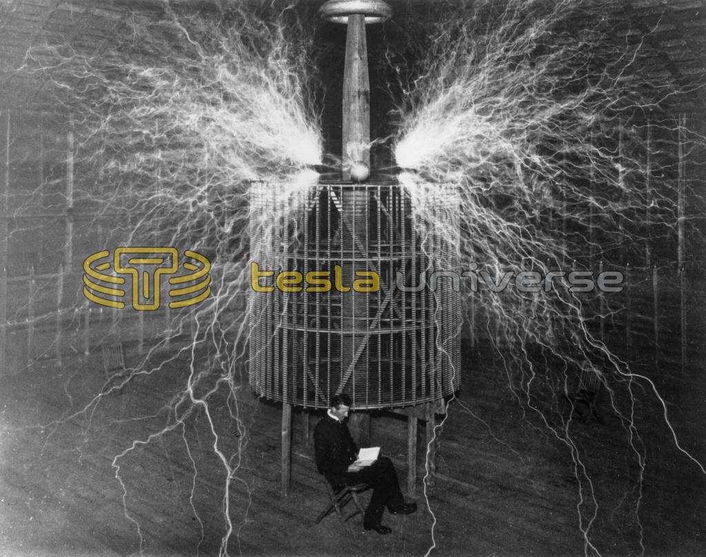 Nikola Tesla seated inside his Colorado Springs oscillator while giant sparks leap around him