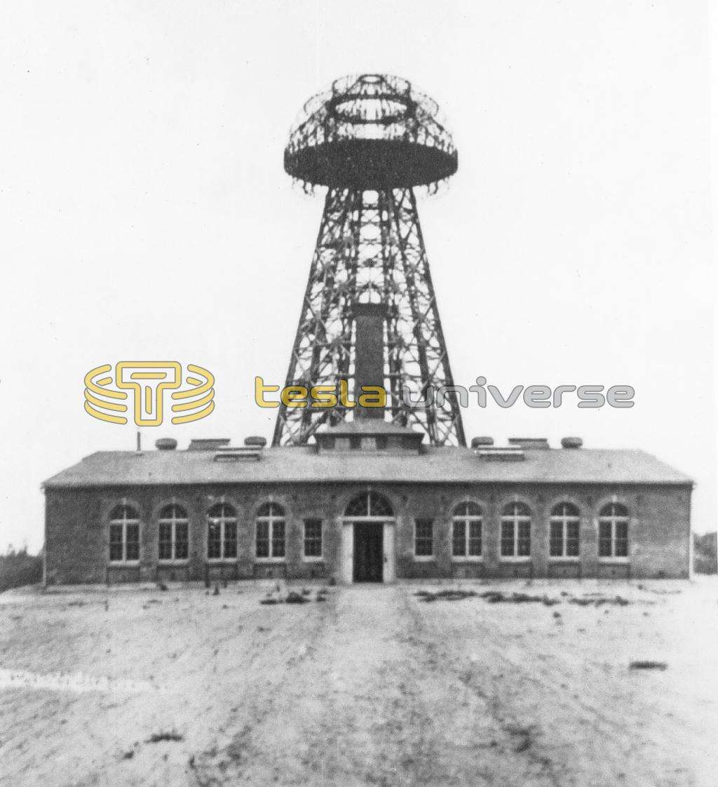 Tesla's Wardenclyffe laboratory with world system tower in background