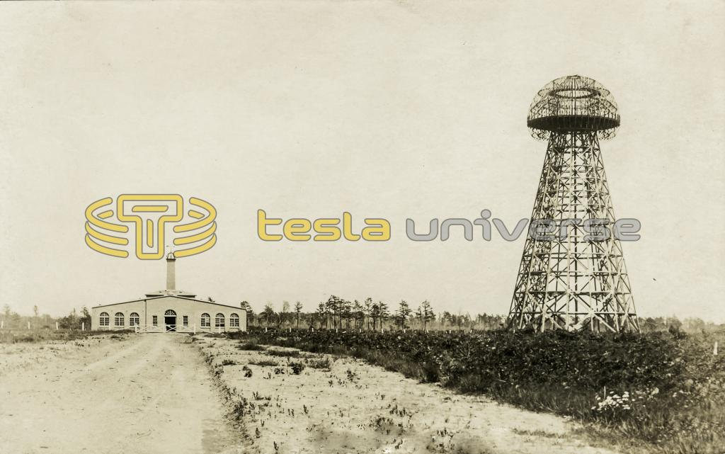 Tesla's laboratory building and the uncompleted transmitting tower
