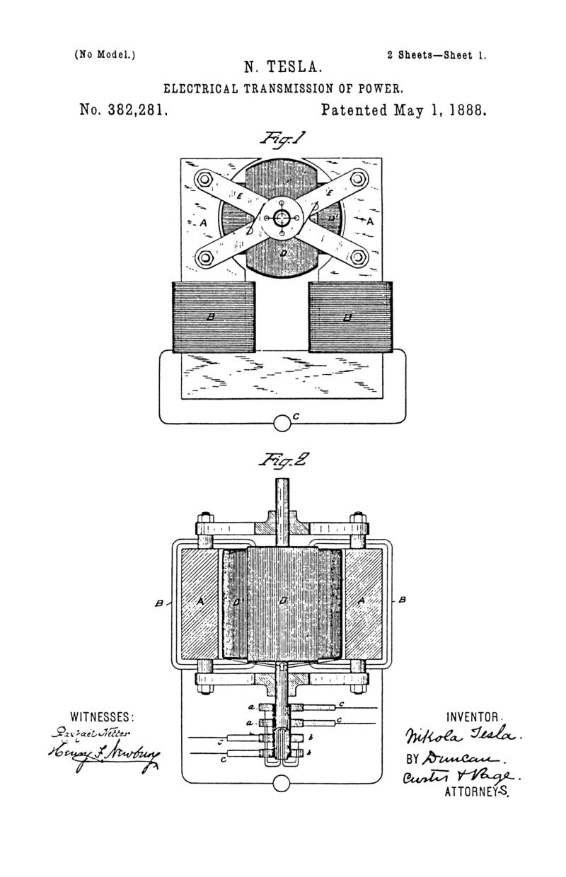 Nikola Tesla U.S. Patent 382,281 - Electrical Transmission of Power - Image 1