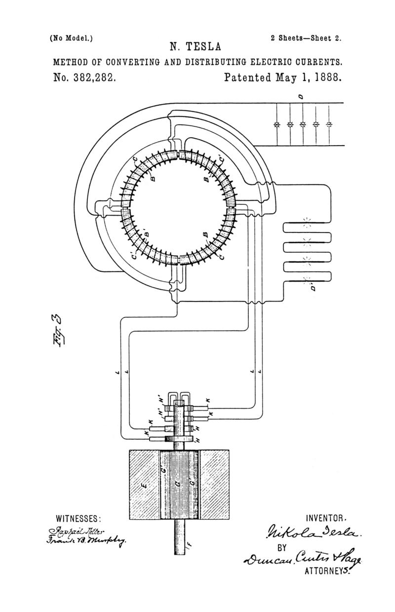 Nikola Tesla U.S. Patent 382,282 - Method of Converting and Distributing Electric Currents - Image 2
