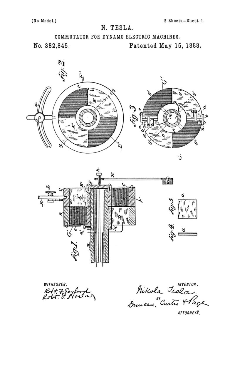 Nikola Tesla U.S. Patent 382,845 - Commutator for Dynamo-Electric Machines - Image 1