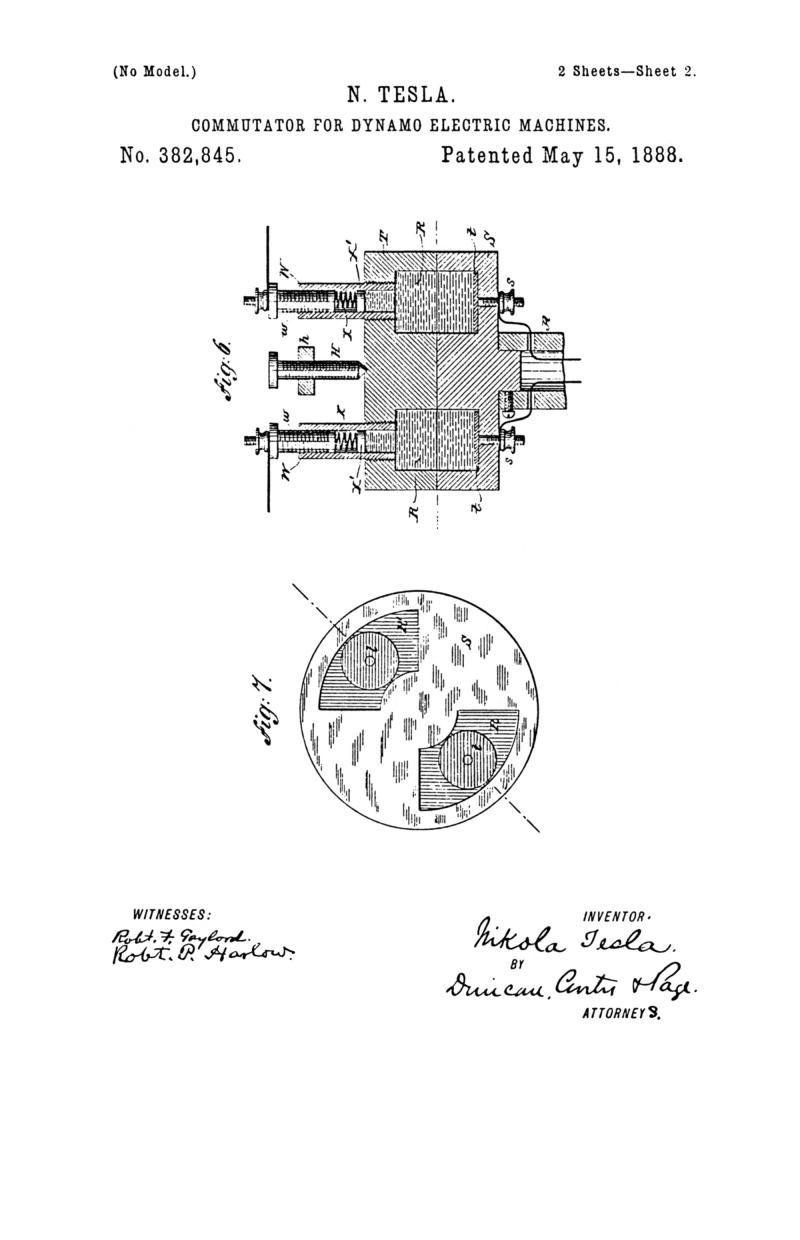 Nikola Tesla U.S. Patent 382,845 - Commutator for Dynamo-Electric Machines - Image 2