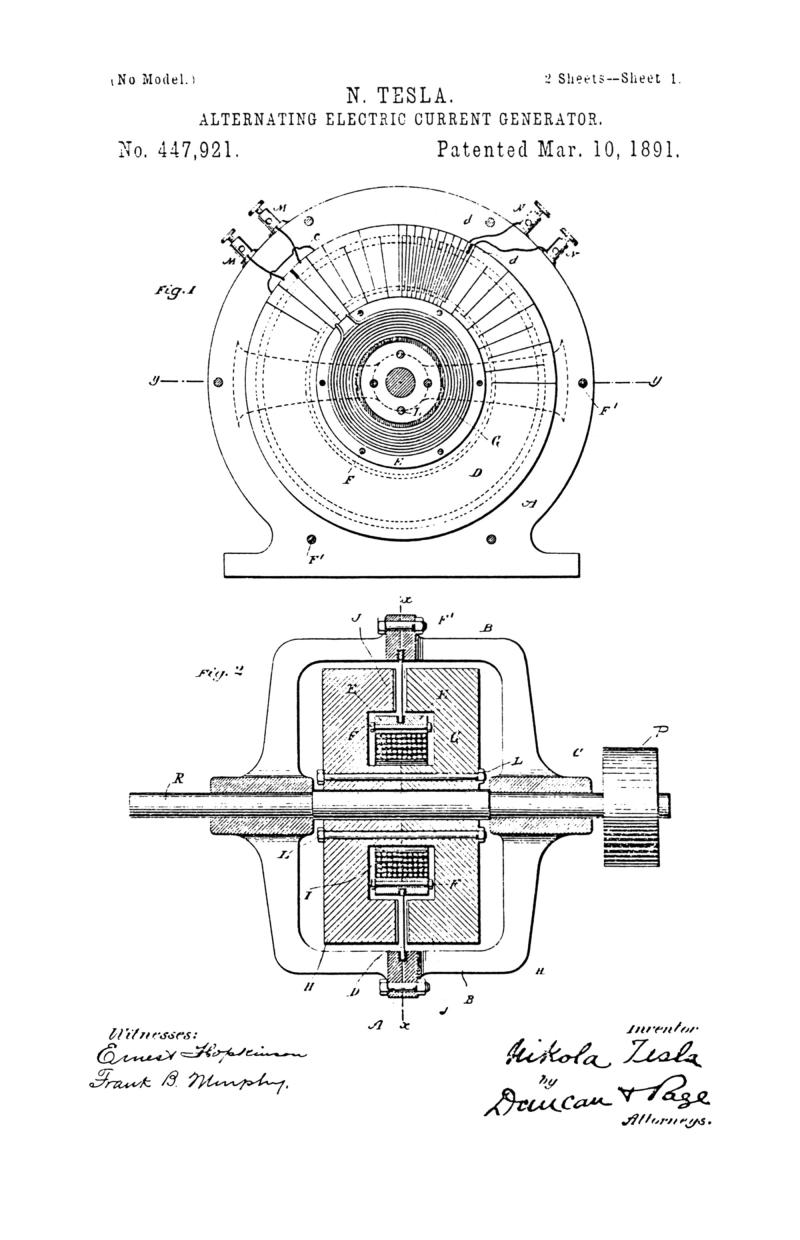 Nikola Tesla U.S. Patent 447,921 - Alternating Electric Current Generator - Image 1