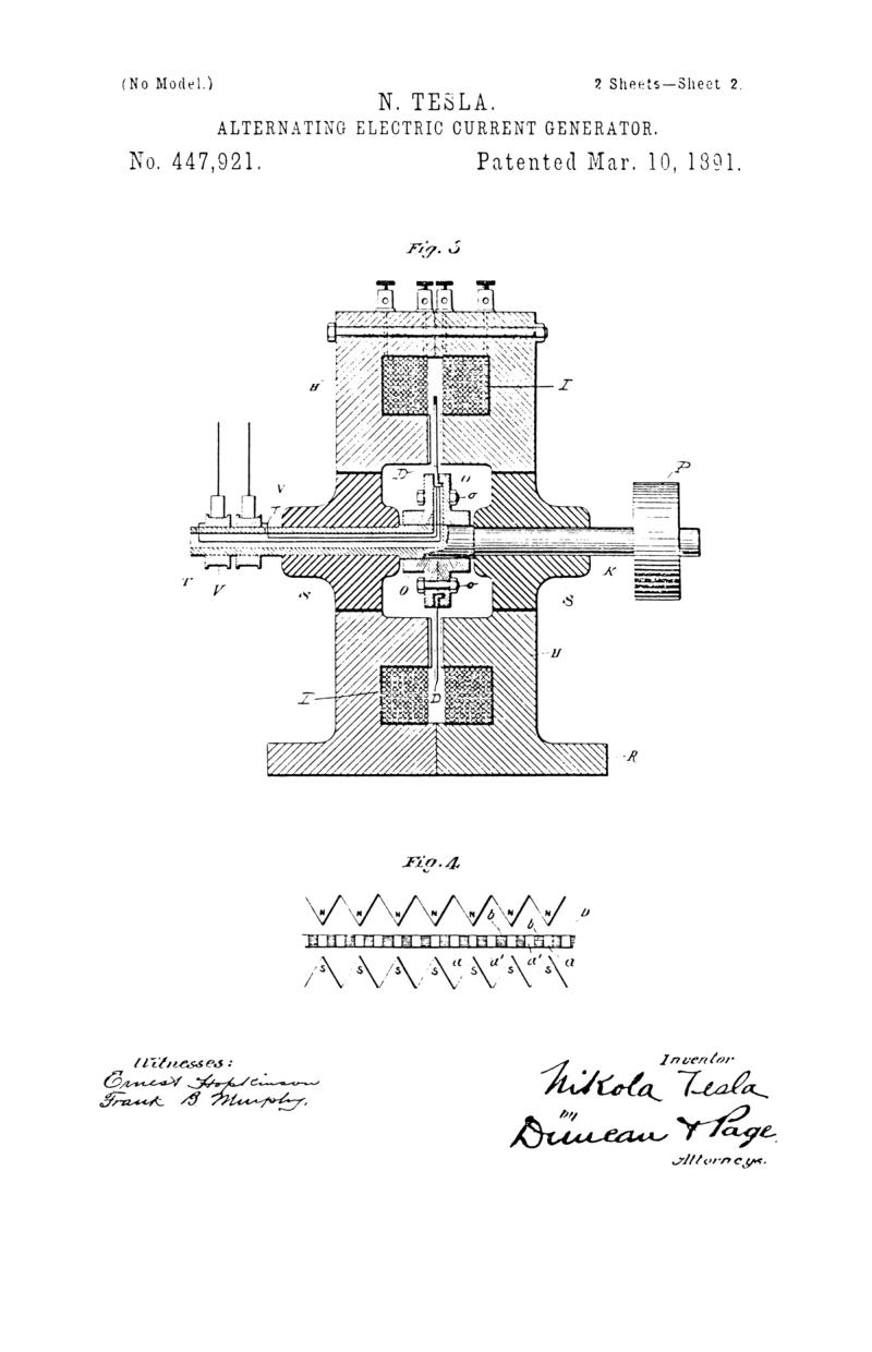 Nikola Tesla U.S. Patent 447,921 - Alternating Electric Current Generator - Image 2