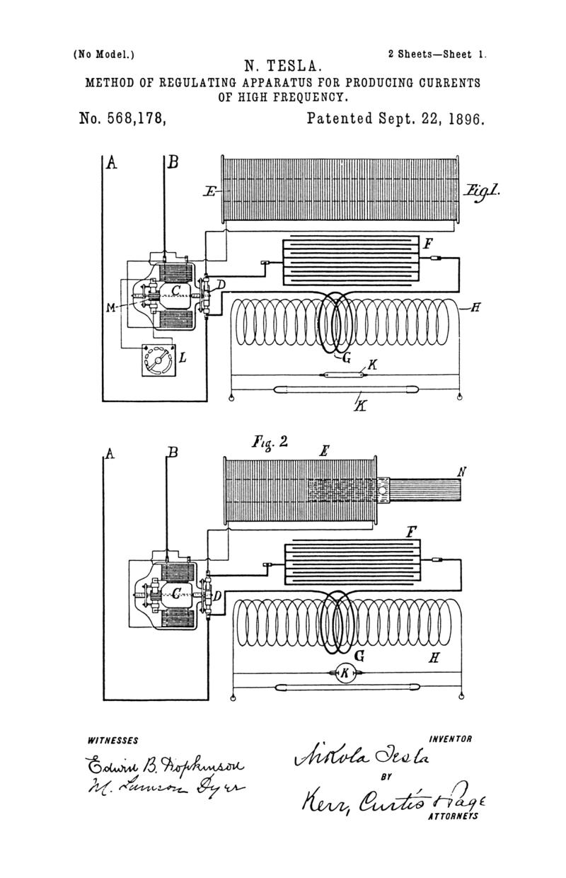 Nikola Tesla U.S. Patent 568,178 - Method of Regulating Apparatus for Producing Electric Currents of High Frequency - Image 1