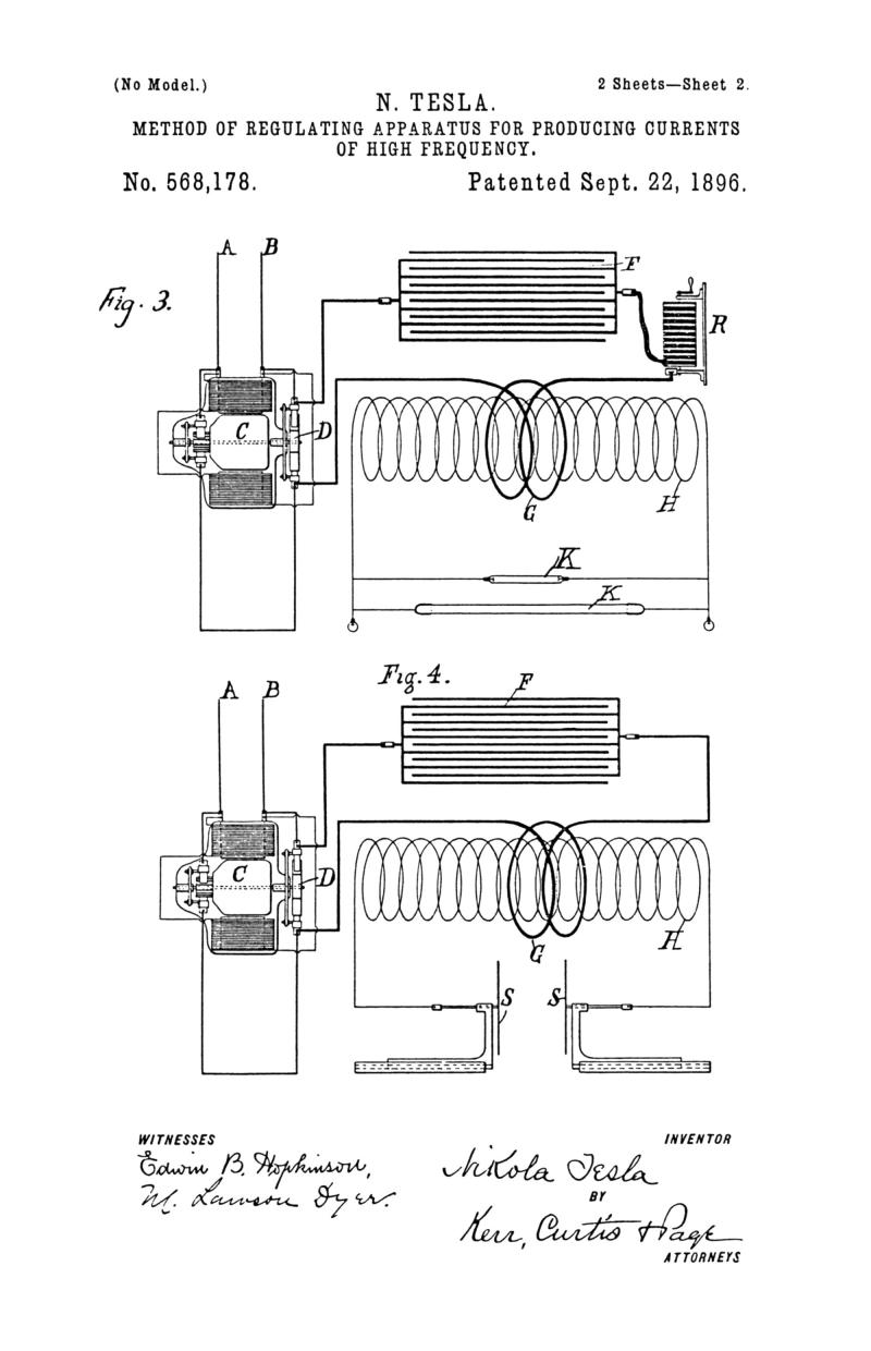 Nikola Tesla U.S. Patent 568,178 - Method of Regulating Apparatus for Producing Electric Currents of High Frequency - Image 2