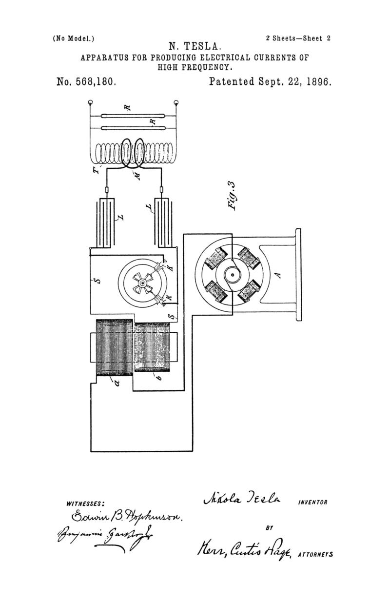 Nikola Tesla U.S. Patent 568,180 - Apparatus for Producing Electrical Currents of High Frequency - Image 2