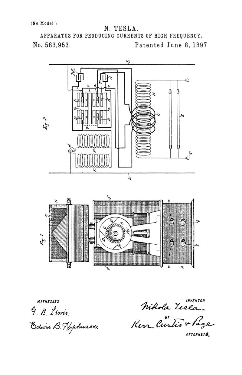 Nikola Tesla U.S. Patent 583,953 - Apparatus for Producing Currents of High Frequency - Image 1