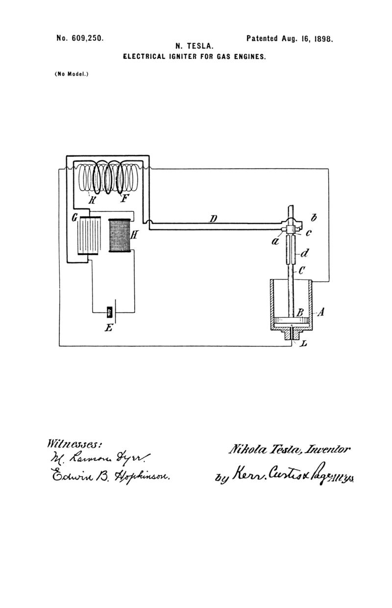 Nikola Tesla U.S. Patent 609,250 - Electrical Igniter for Gas Engines - Image 1