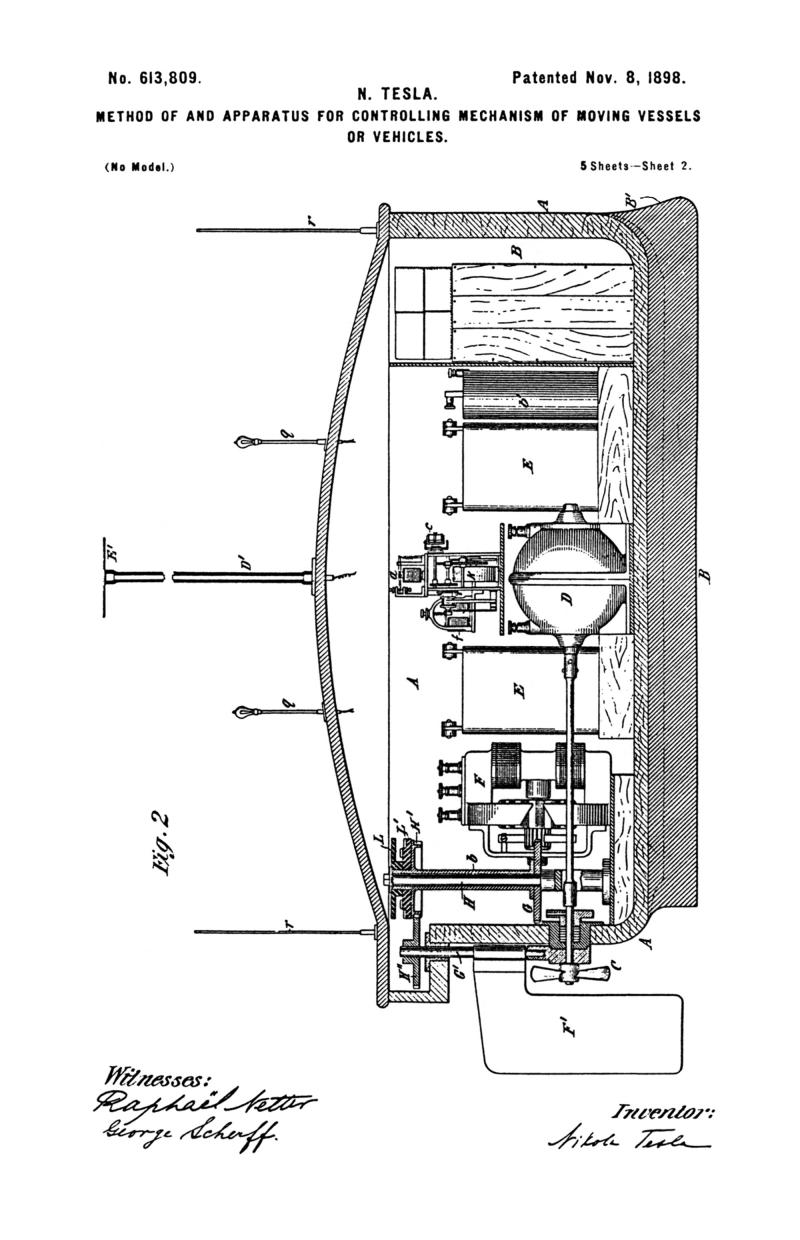 Nikola Tesla U.S. Patent 613,809 - Method of and Apparatus for Controlling Mechanism of Moving Vehicle or Vehicles - Image 2