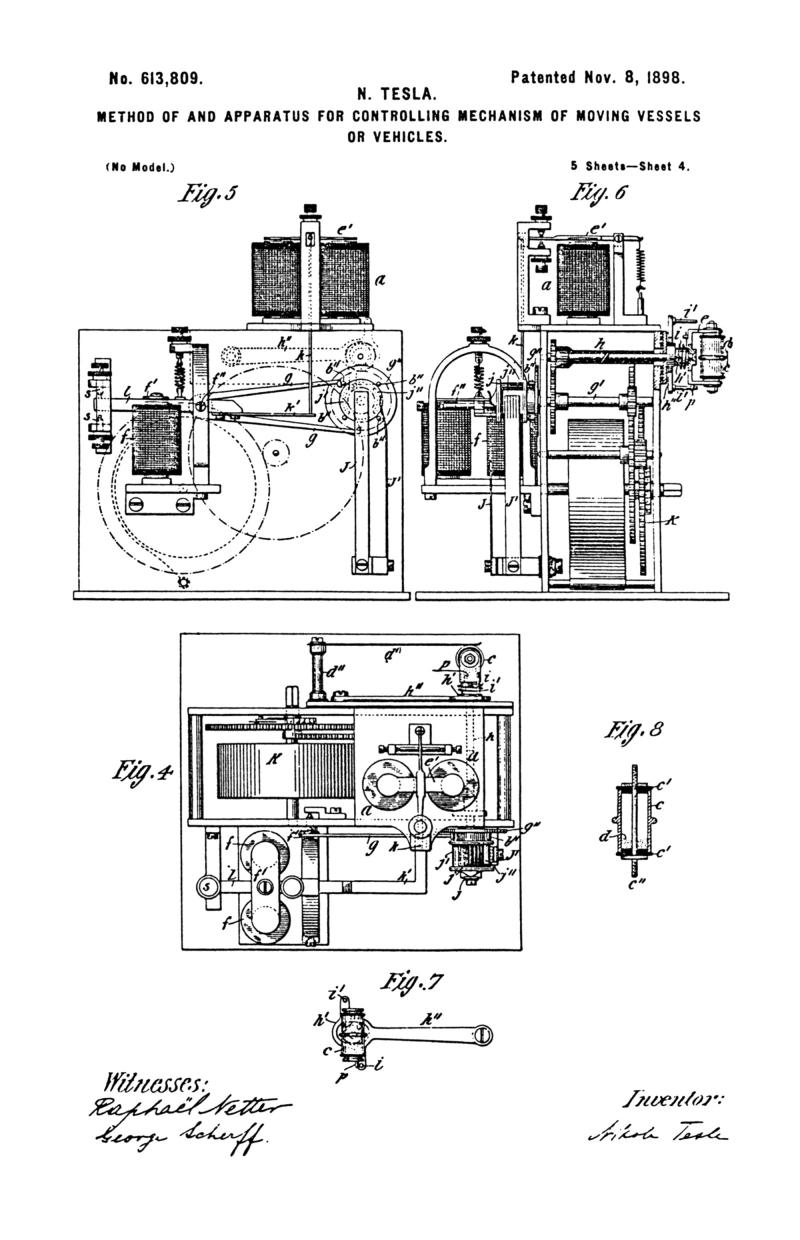 Nikola Tesla U.S. Patent 613,809 - Method of and Apparatus for Controlling Mechanism of Moving Vehicle or Vehicles - Image 4