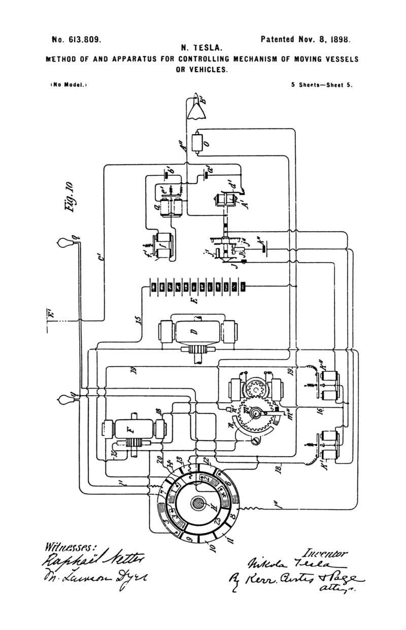 Nikola Tesla U.S. Patent 613,809 - Method of and Apparatus for Controlling Mechanism of Moving Vehicle or Vehicles - Image 5