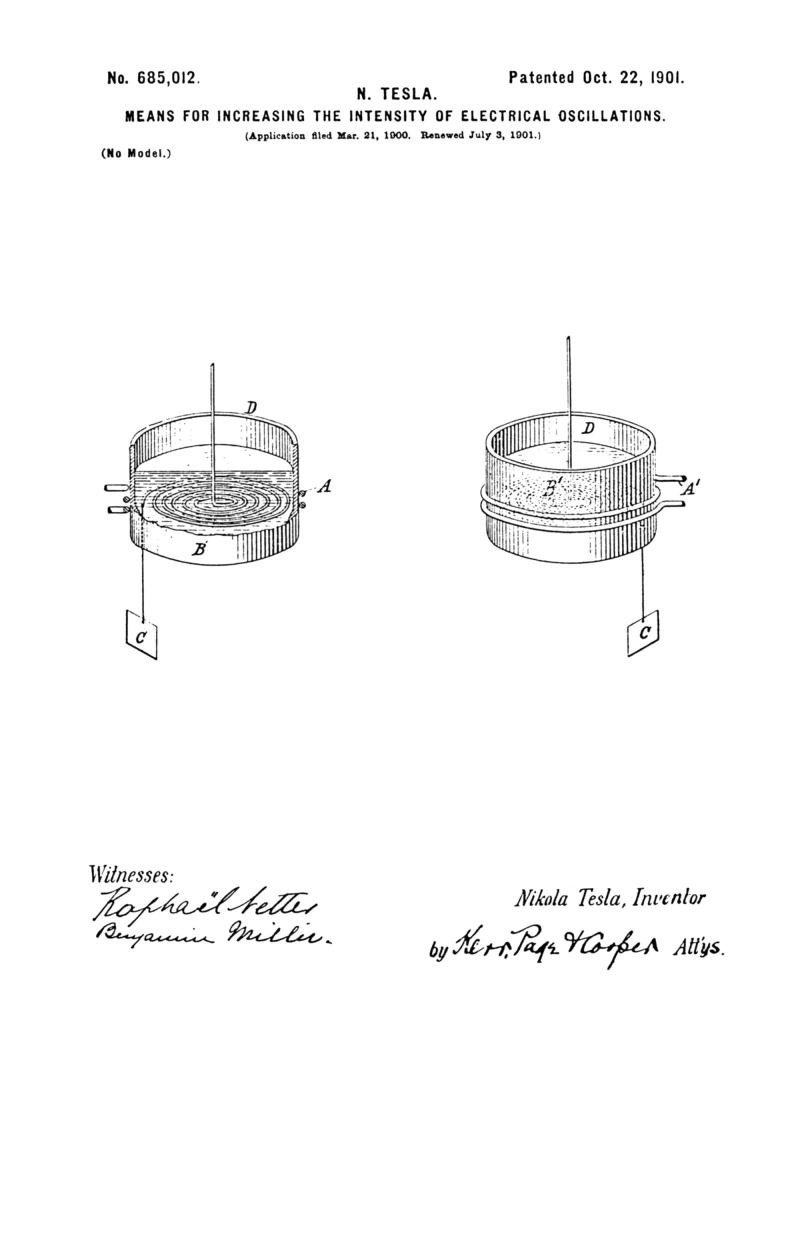 Nikola Tesla U.S. Patent 685,012 - Means for Increasing the Intensity of Electrical Oscillations - Image 1