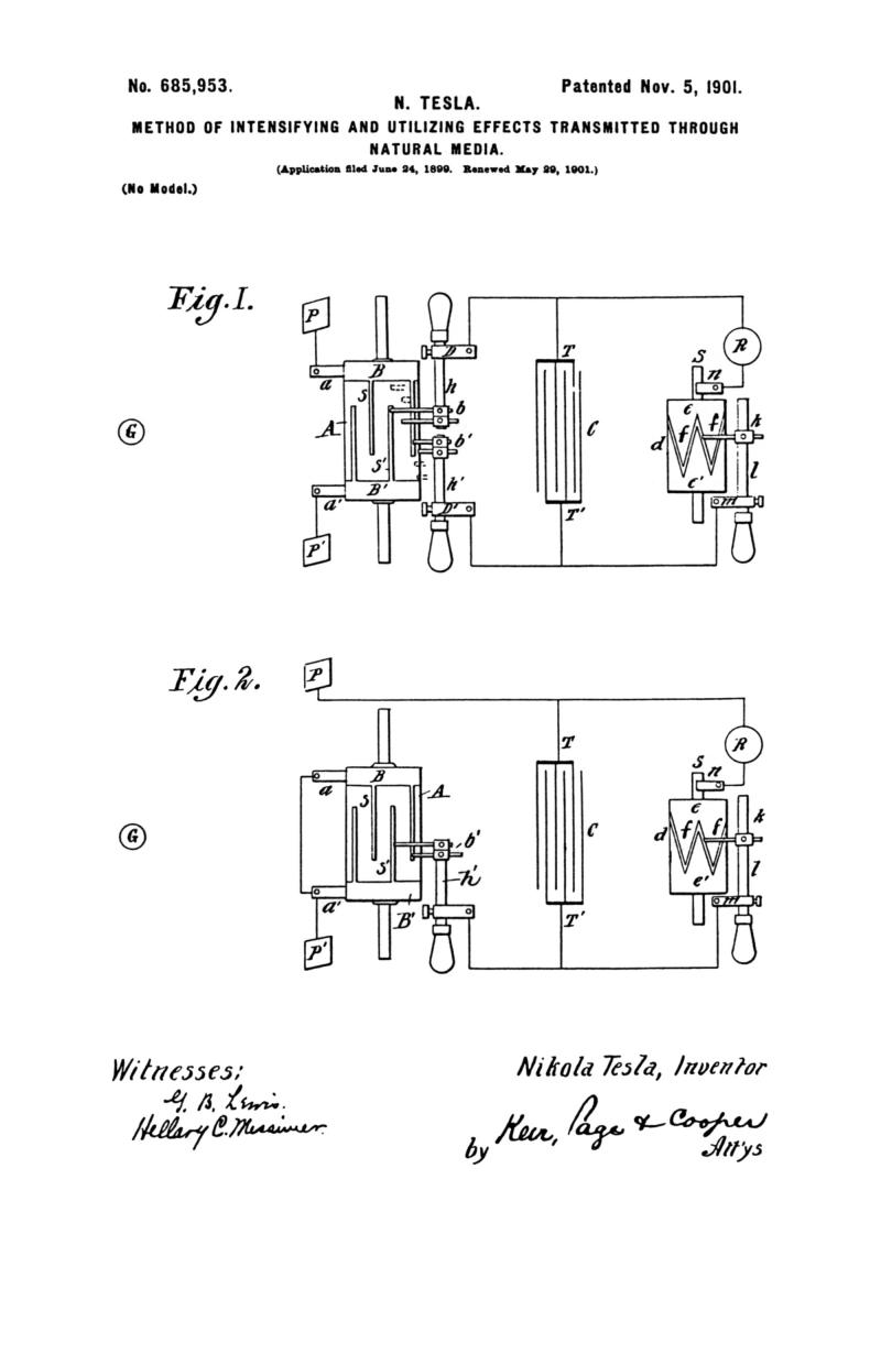 Nikola Tesla U.S. Patent 685,953 - Method of Intensifying and Utilizing Effects Transmitted Through Natural Media - Image 1
