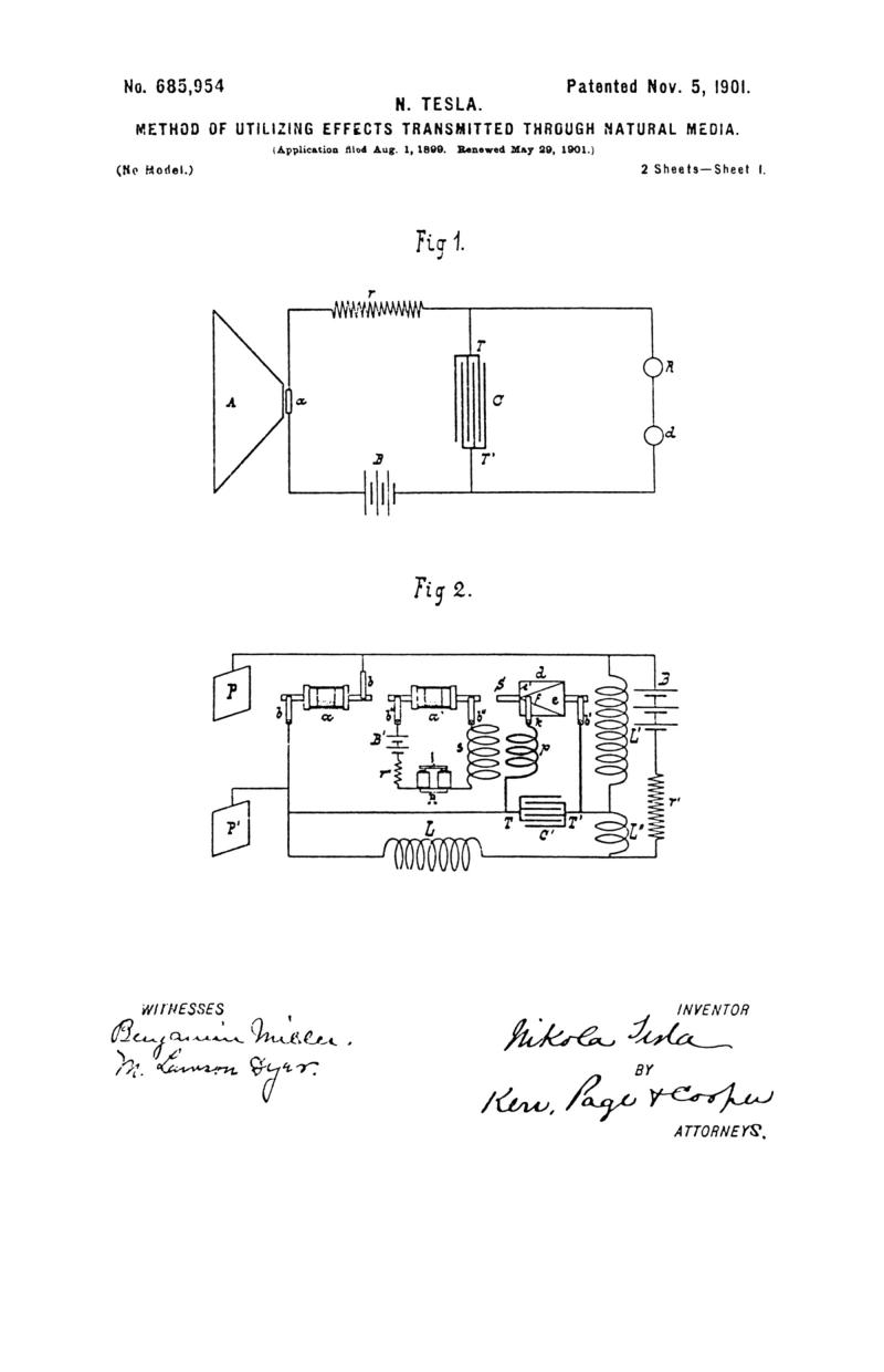 Nikola Tesla U.S. Patent 685,954 - Method of Utilizing Effects Transmitted through Natural Media - Image 1
