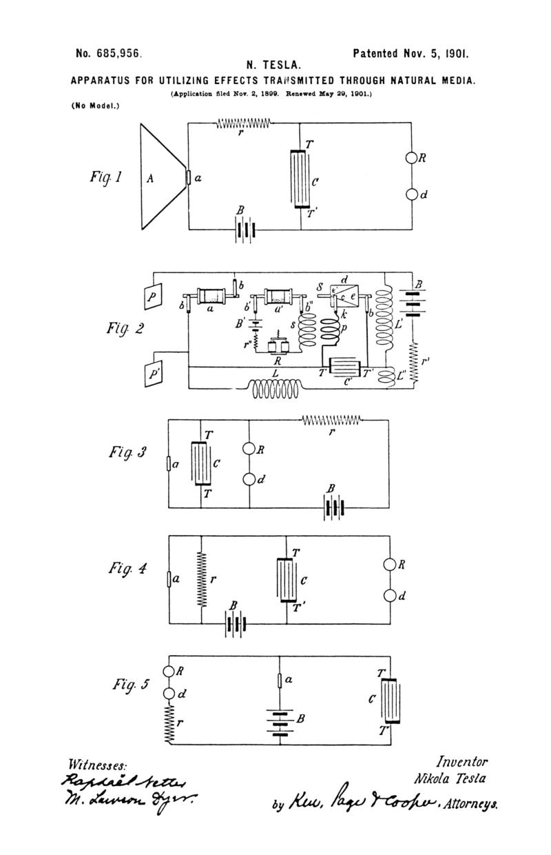 Nikola Tesla U.S. Patent 685,956 - Apparatus for Utilizing Effects Transmitted through Natural Media - Image 1
