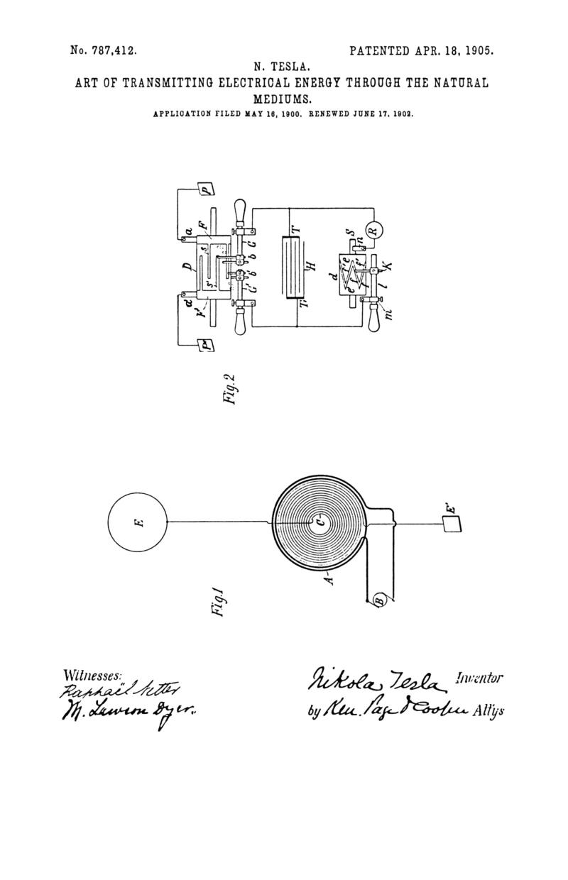 Nikola Tesla U.S. Patent 787,412 - Art of Transmitting Electrical Energy through the Natural Mediums - Image 1