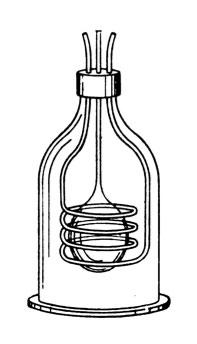 Exhausted Tesla bulb surrounded by primary coils, enclosed in bell jar