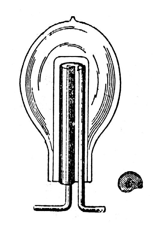 Drawing of a Tesla vacuum tube