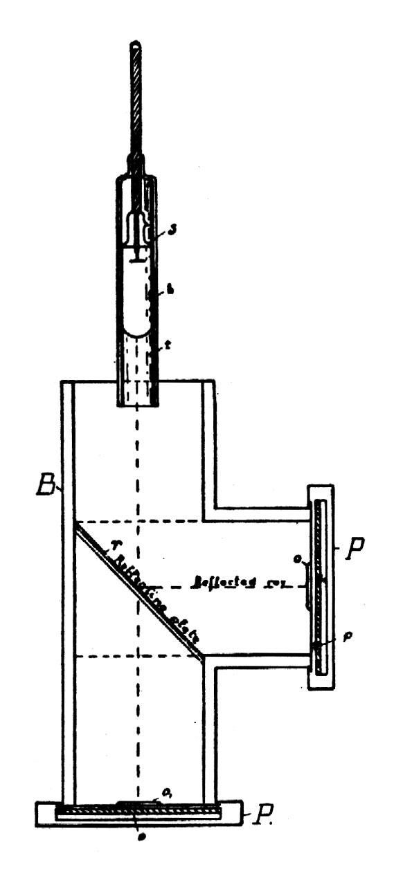 Tesla diagram of apparatus producing reflected Roentgen rays