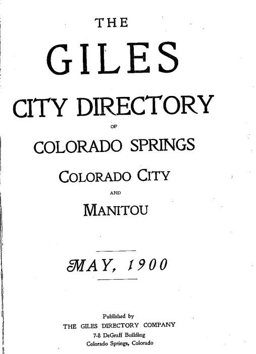 The cover of the Colorado Springs phone directory from 1900.