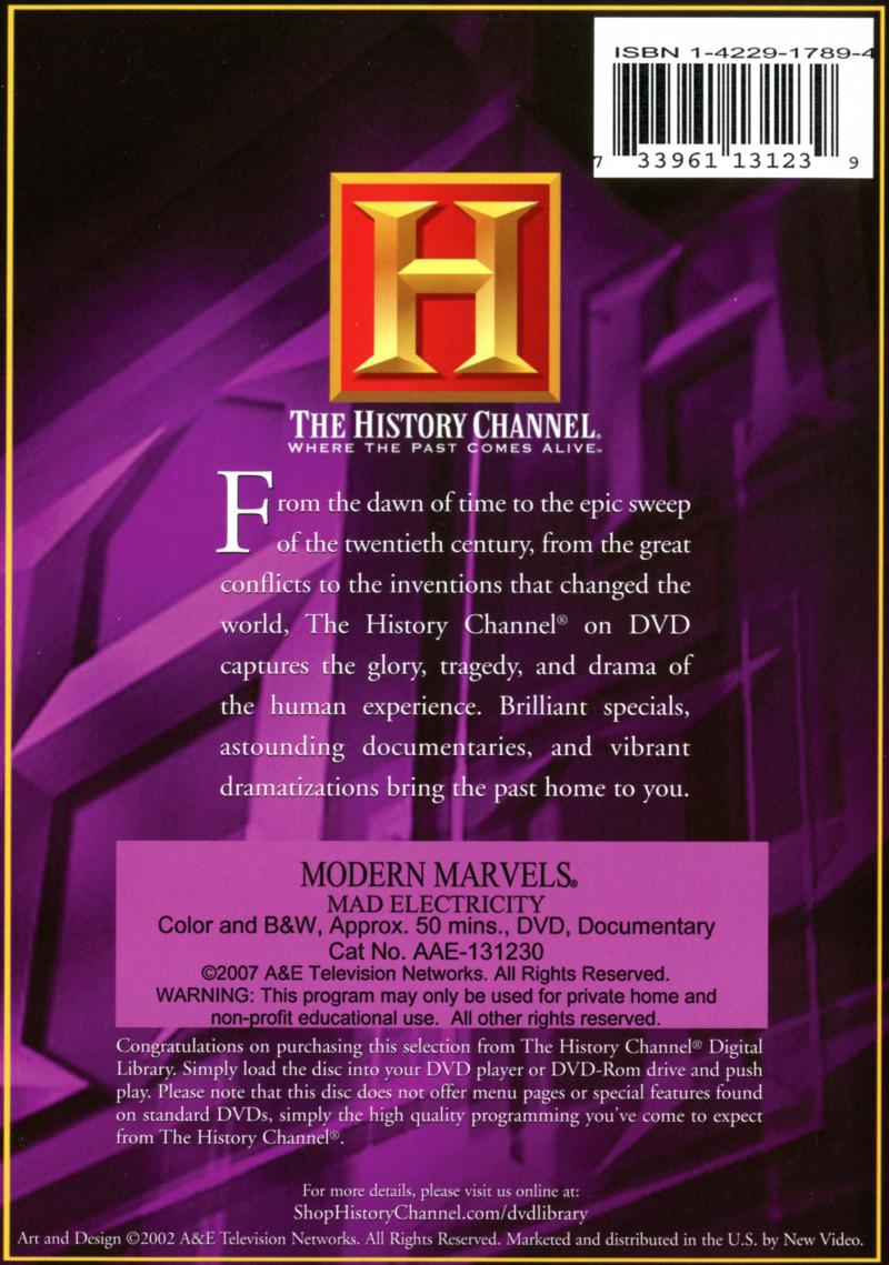 Modern Marvels - Mad Electricity - Back cover