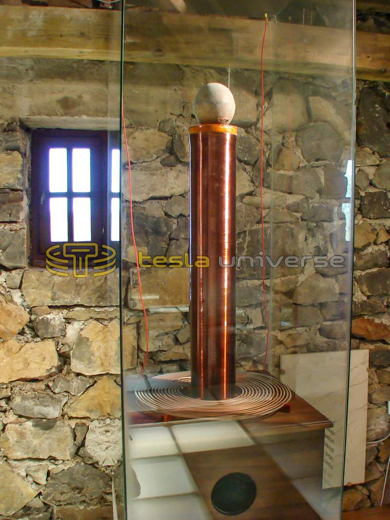 Tesla coil inside the replica home of Tesla in Smiljan, Croatia
