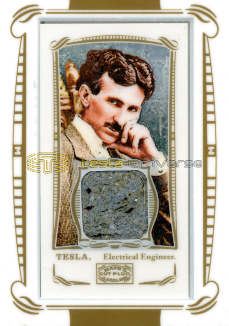 Topps World's Fair relic card featuring Nikola Tesla and granite slice from fair