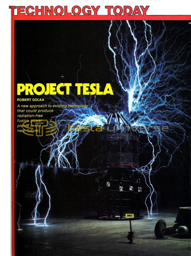 "Article showing Robert Golka's ""Project Tesla"" coil in operation"