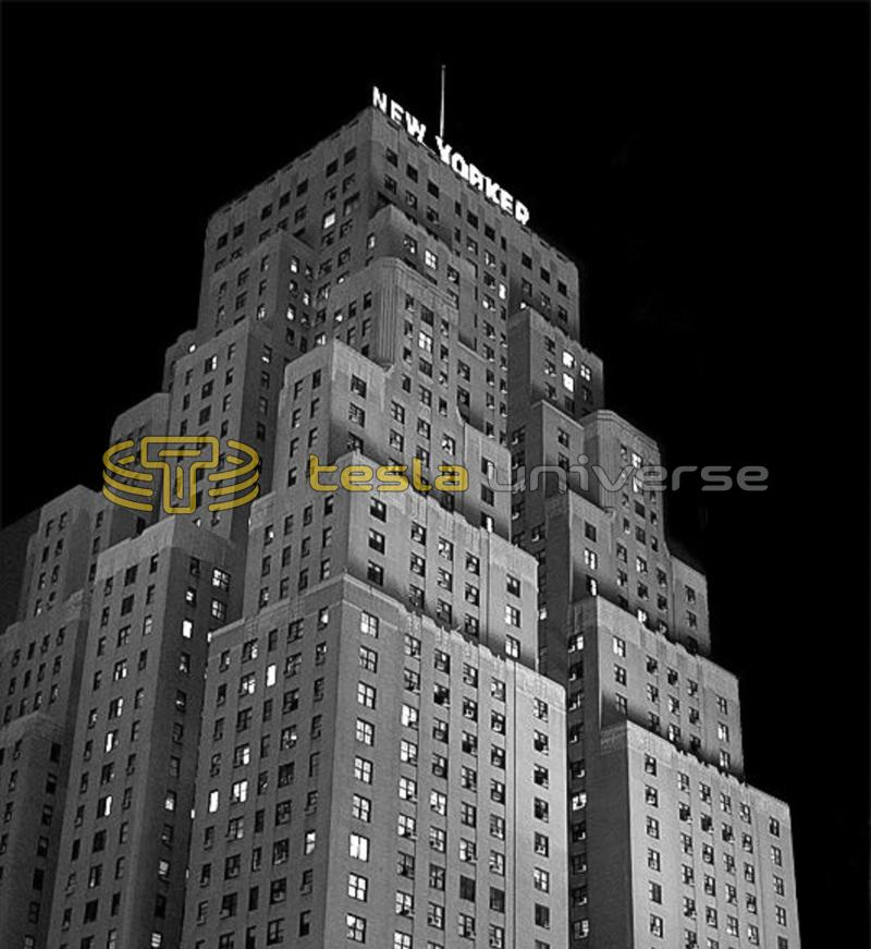 Vintage photo of The Hotel New Yorker at night