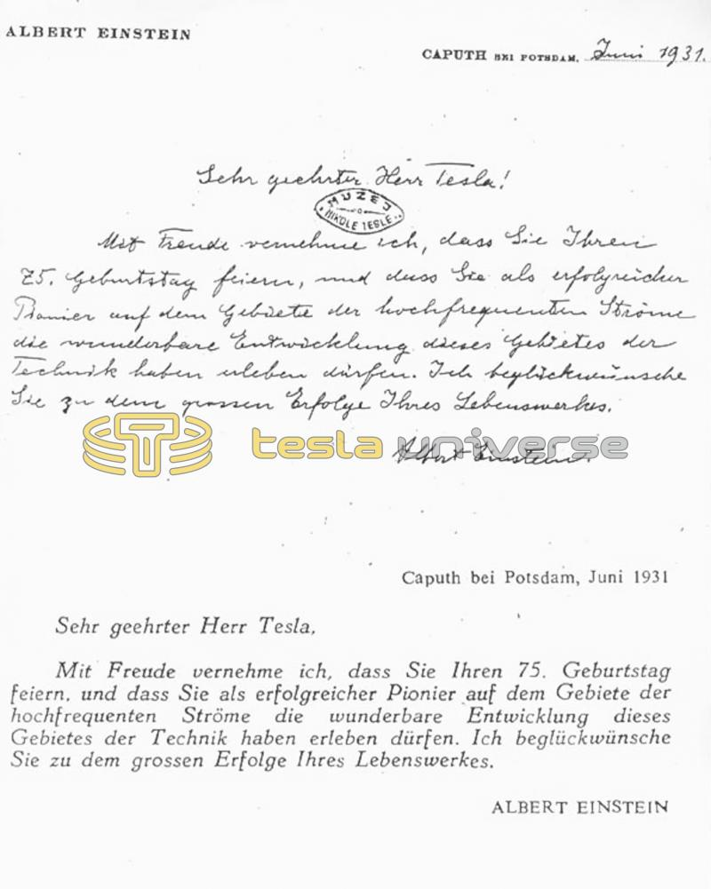 June 1931 letter from Albert Einstein to Nikola Tesla.