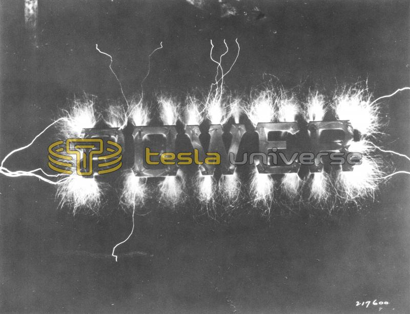 """POWER"" sign announcing Tesla's personal display at the 1893 World's Fair."