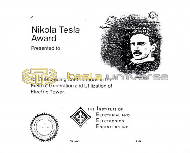 The IEEE Nikola Tesla Award