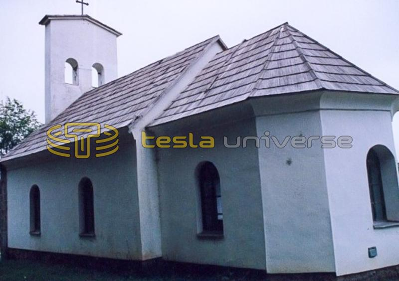 Close-up view of the renovated church at Tesla's birthplace
