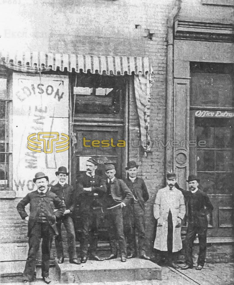 Workers standing outside the Edison Machine Works building in New York