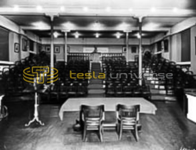 The lecture hall of the Franklin Institute where Tesla lectured