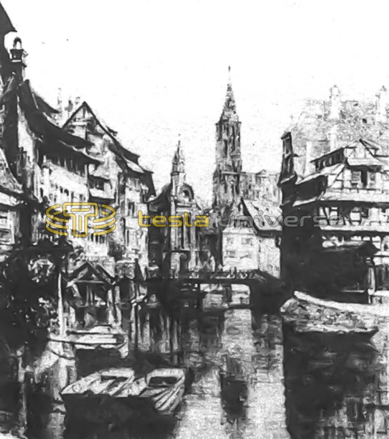 Strasbourg Quay from a lithograph found in Tesla's papers