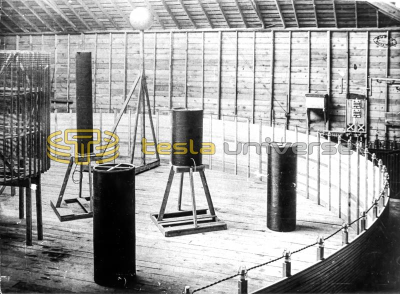 Interior of Tesla's Colorado Springs lab showing small coils inside large oscillator