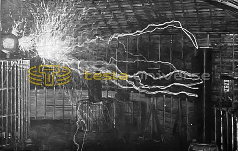 Tesla's Colorado Springs coil producing electrical explosions of great power