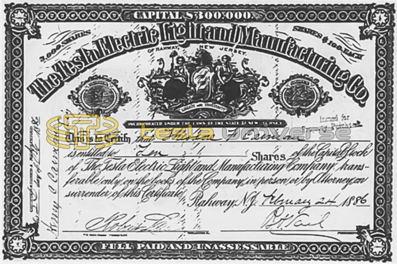 A stock certificate from the Tesla Electric Light Company