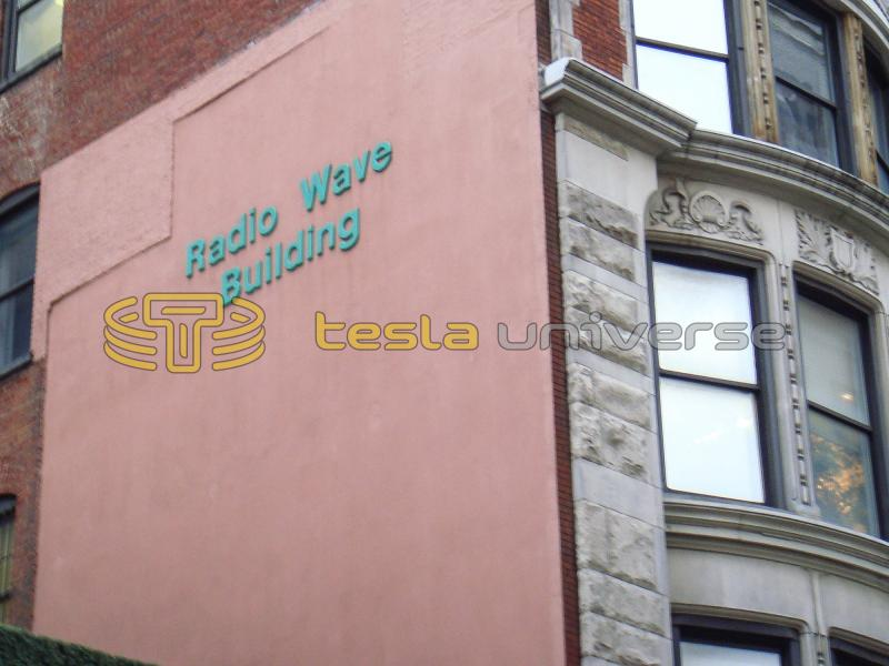 "The large ""Radio Wave Building"" title on the side of the former hotel where Tesla stayed"