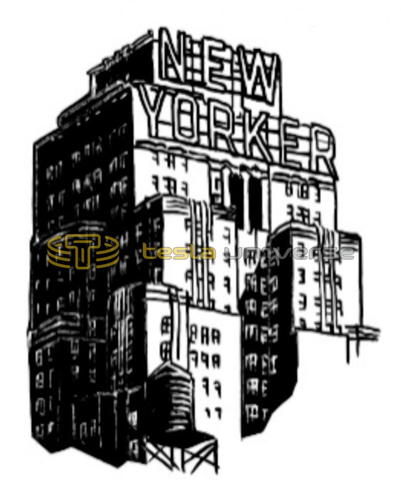 Drawing of Tesla's last home, the New Yorker Hotel in New York City
