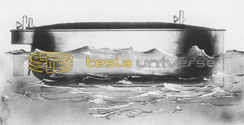 An illustration of the submersible Tesla boat in water